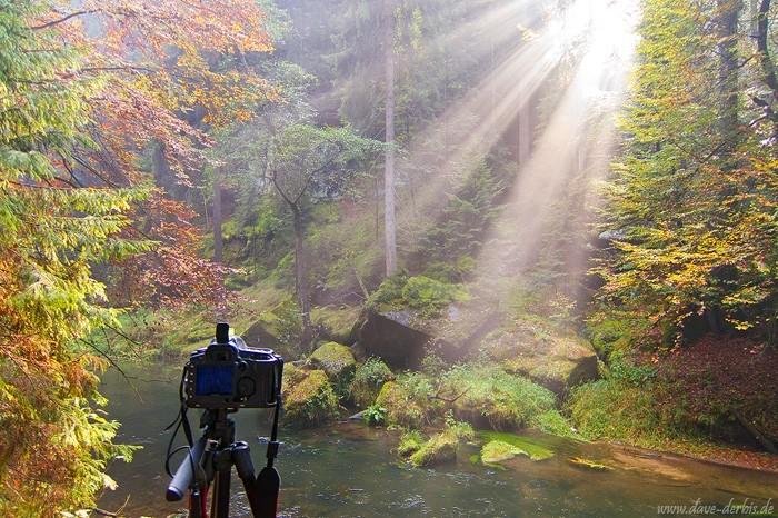 Sonnenstrahlen fallen auf Kamera und Stativ in der Böhmischen Schweiz
