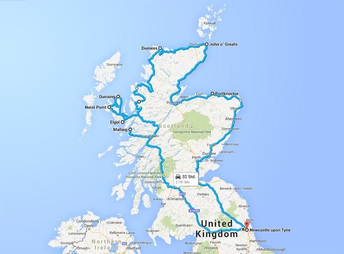 Schottland Fototour Route