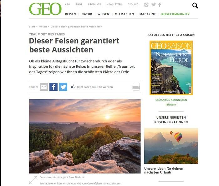 Geo Magazine und Webseite Screenshot