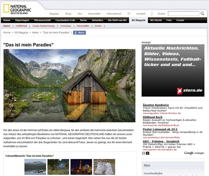 National Geographic Webseite and Magazin Screenshot