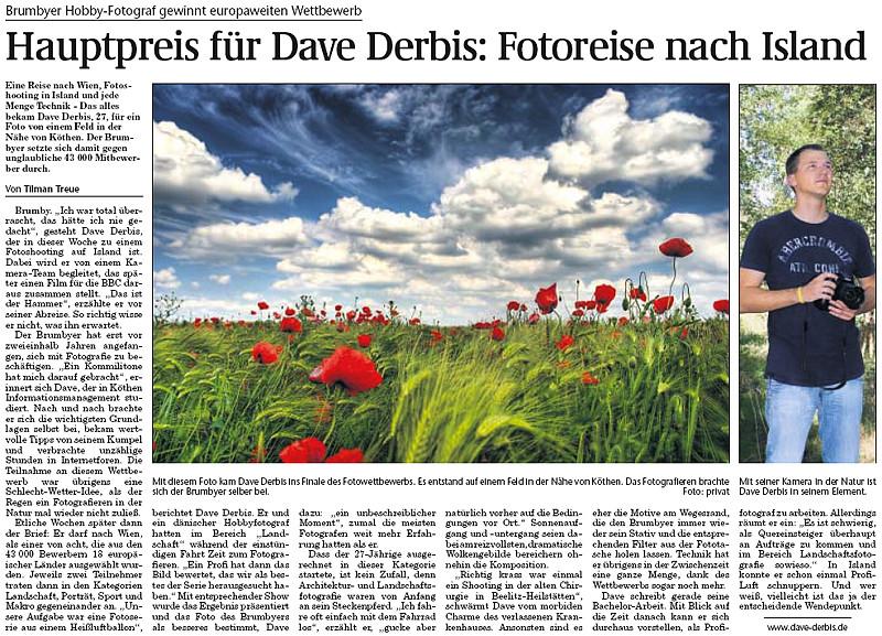 Hauptpreis Dave Derbis - Fotoreise nach Island - Magdeburger Volksstimme