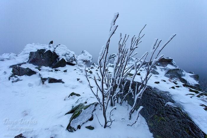 Gefrorener Gipfel mit Hochnebel