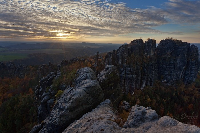 Schrammsteine Wandern - Die untergehende Sonne