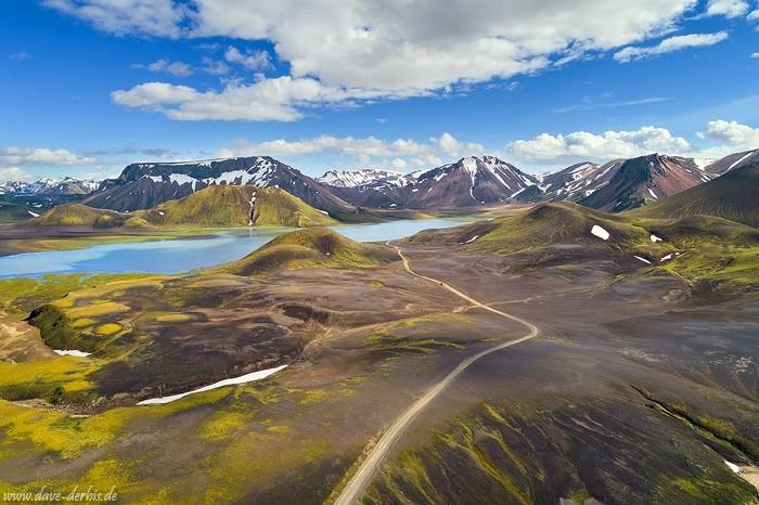 Luftaufnahme von Kylingaskard im isländischen Hochland