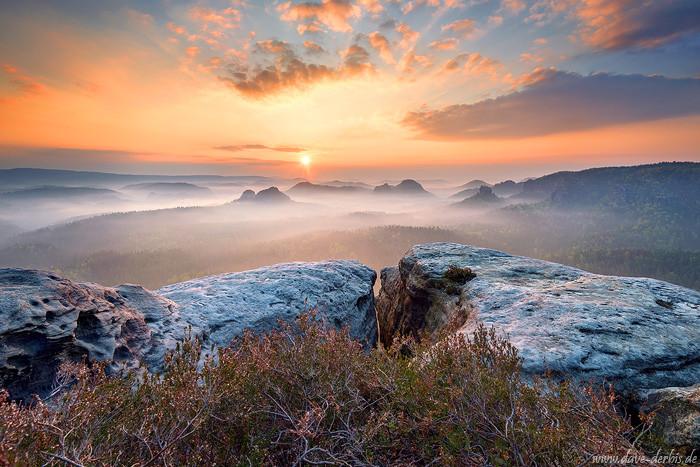 Gegenlichtaufnahme am Kleinen Winterberg zum Sonnenaufgang