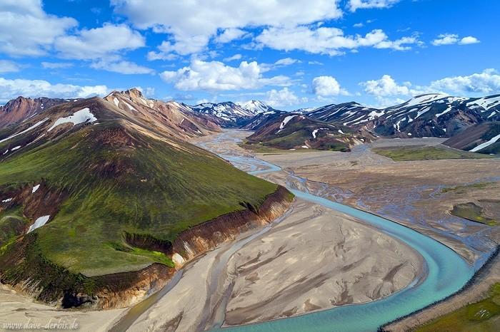 Norðurbarmur - die Berge von Landmannalaugar aus der Luft fotografiert