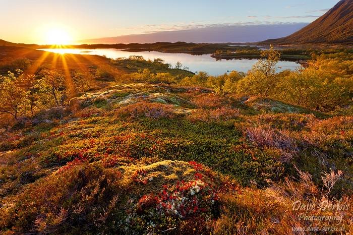 Indian Summer zum Sonnenuntergang am Vatnfjorden