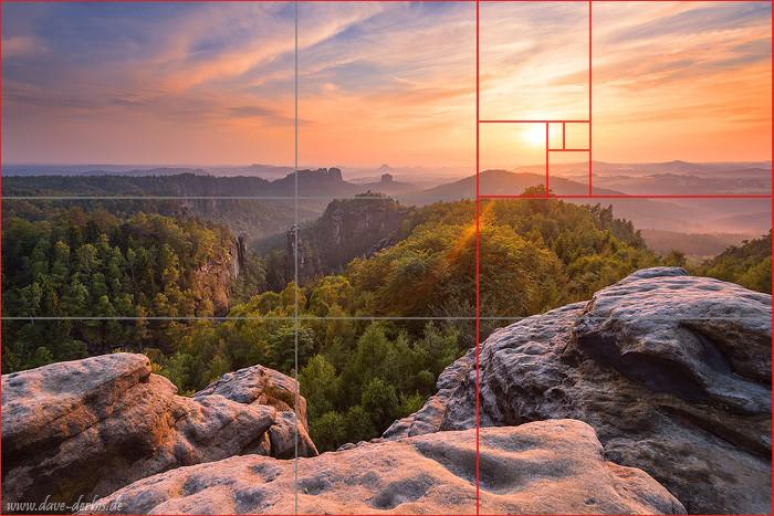 Bildkomposition mit dem goldenen Schnitt in der Landschaftsfotografie an einem Beispielbild