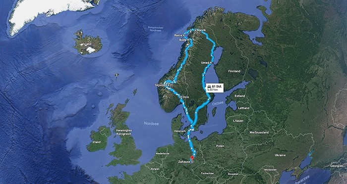 Karte und Route der Rundreise durch Norwegen