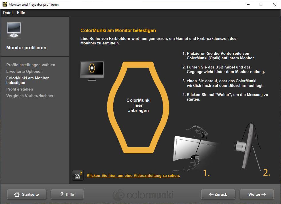 Monitor kalibrieren Hardware anbringen - Schritt 4