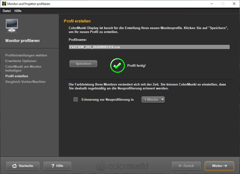 Monitor kalibrieren - Profil erstellt - Schritt 6